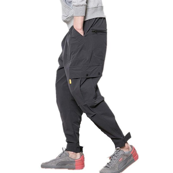 Nice Fitness Long Pants Men Casual Sweatpants Baggy Jogger Trousers Fashion Fitted Bottoms Streetwear Hiphop Black Cargo Pants