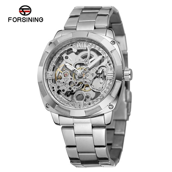 Forsining Mechanical Wristwatches Fashion Silver Mens Automatic Watches Top Brand Luxury Luminous Hands Waterproof Male Clock SLZe147