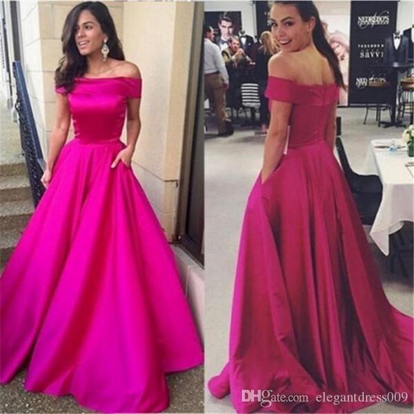 New Fuchsia Design A Line Evening Dresses Off Shoulder Pleats Floor Length Satin Prom Dresses Party Gowns Celebrity Runway Dress Custom Made