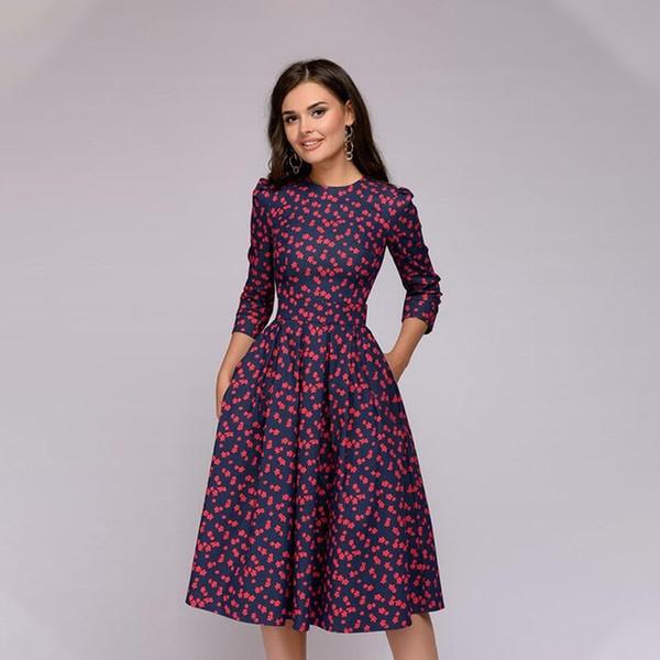 Großhandel neue Frauen Elegent A-Linie Kleid Vintage Druckparty vestidos Drei Viertel Ärmel Frauen Herbst Kleid