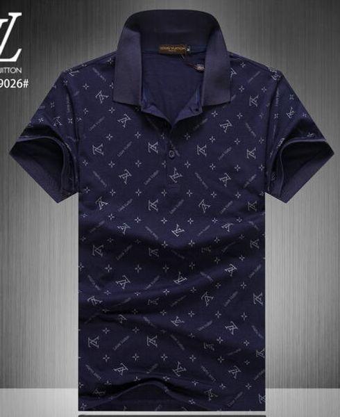 T-shirt casual a righe da uomo 2019 nuova moda bavero polo camicia di marca di lusso di lusso ricamo stampa cotone di alta qualità T-shirt # 66319