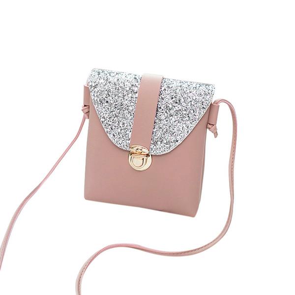 Cheap Women Solid Color Lock Sequins Crossbody Bag Ladies Portable Shoulder Bag New Arrival #08