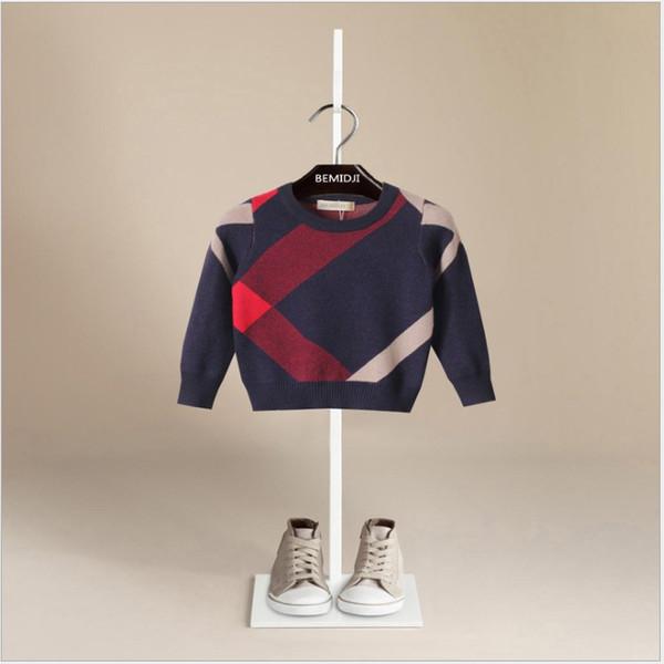 2019 Printemps Garçons Automne Pull Brand Design Laine Pull tricotée Enfants Casual Hauts Pulls Vêtements de bébé 2 couleurs 5pcs / lot
