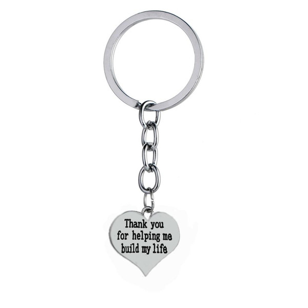 12PC Wholesale Heart Love Build My Life Thank You For Helping Me Keyring Teacher Family Friend Gifts Keychain Key Ring Jewelry