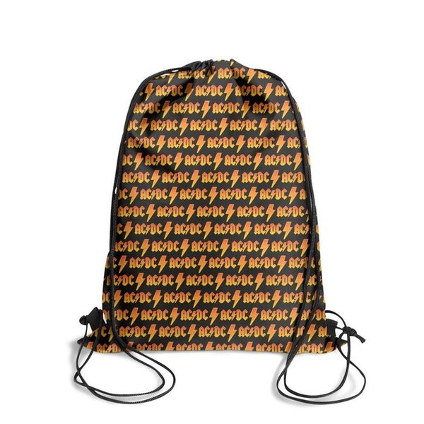 Sports backpack ACDC back in black rock band orange fashion vintage personalizedpackage convenient sports Bundle gym Travel Beach pull strin