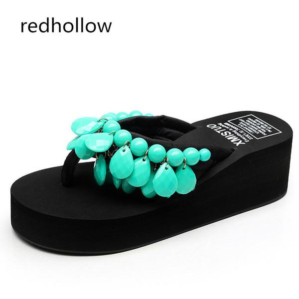 c1c48ceae1ef Woman Beach Flip Flops Summer Sandals Bohemia Slippers Platform Sandals  Fashion High Heels Shoes Female Home