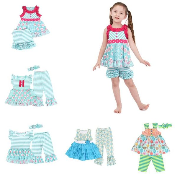 2019 Angel Toddler Girls Summer Pink Peony Apple Green White Rose Cotton kids clothing Set Girls Fashion 2pcs Children Outfit BY1067