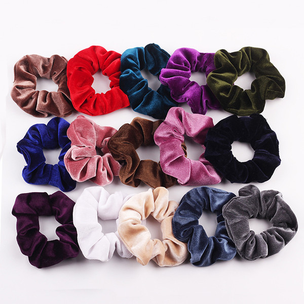 top popular 36 color Velvet Scrunchie Women Girls Elastic Hair Rubber Bands Accessories Gum For Women Tie Hair Ring Rope Ponytail Holder Headdress L 2020