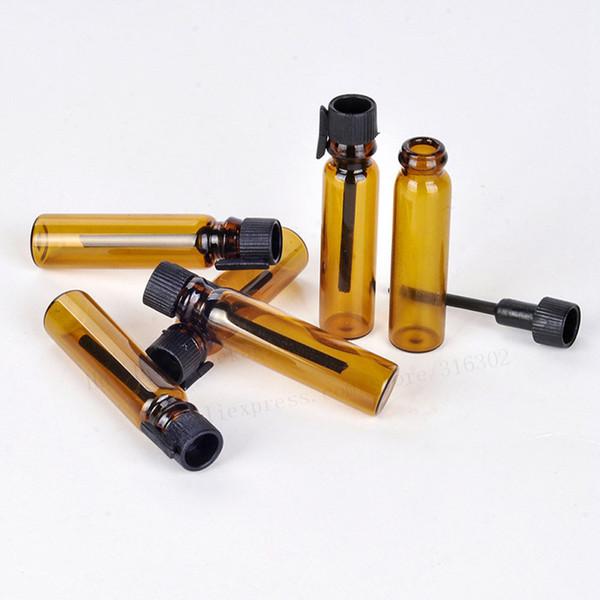 100 x 1 ml mini profumo di ambra Bottiglia di vetro Campione piccolo Prova provette per fiale Parfum Flacone di profumo con tappo nero