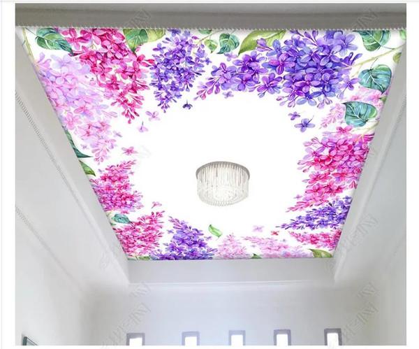 Custom 3D photo ceiling zenith interior decorative mural Modern minimalist hand-painted flower zenith ceiling mural wallpaper wall sticker