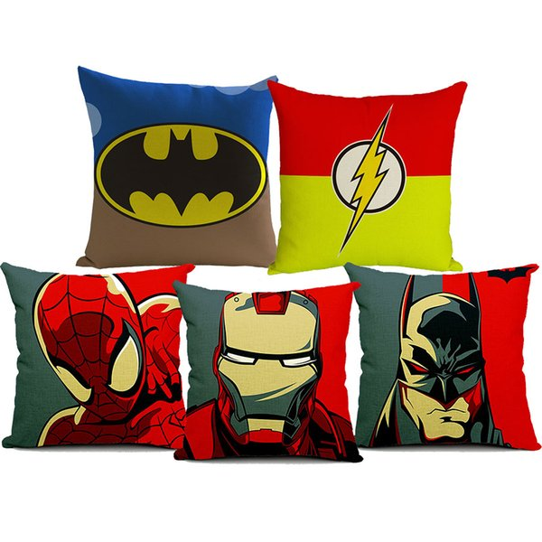 Brilliant Superman Spiderman Ironman Cushion Cover Cartoon American Style Beige Linen Pillow Cover 45X45Cm Sofa Chair Decoration Seat Cushions For Outdoor Theyellowbook Wood Chair Design Ideas Theyellowbookinfo