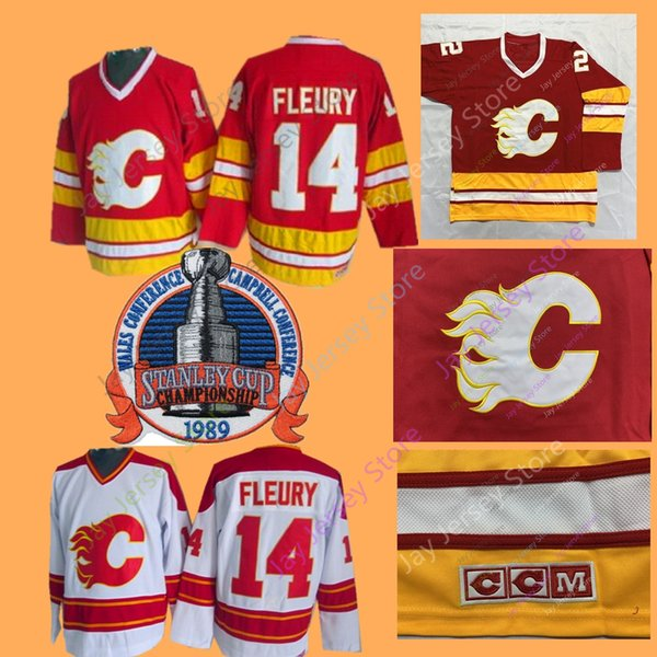 outlet store sale 5be57 a30fc 2019 Theoren Fleury Jersey 1989 Stanley Cup Patch Ice Hockey Calgary Flames  Jerseys CCM Vintage White Navy Home Away From Jayjerseystore, $20.32 | ...