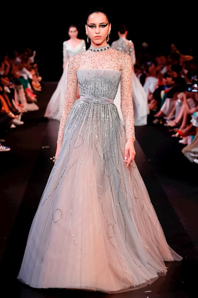 Ziad Nakad Latest A Line Evening Dresses Luxury Beaded Sequins Crystal High Neck Long Sleeve Customized Party Gown Formal Prom Dress