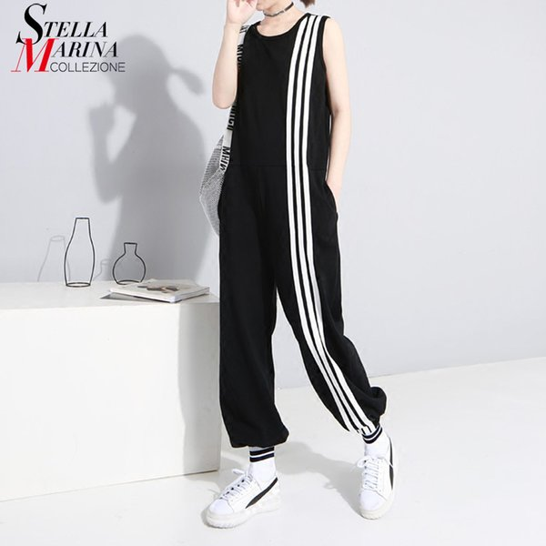 2019 Korean Style Women Summer Long Black Jumpsuit Romper Sleeveless Striped Lady Casual Loose Overalls Jump Suit Playsuit 3644 Y19071701