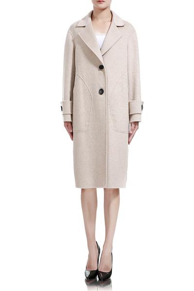 Осень Зима Женская Одежда Женская Мода Шерстяное Пальто Серый Белый Длинный Стиль Двубортный Шерстяной Жакет Шерстяная Смесь Толстое Теплое Пальто