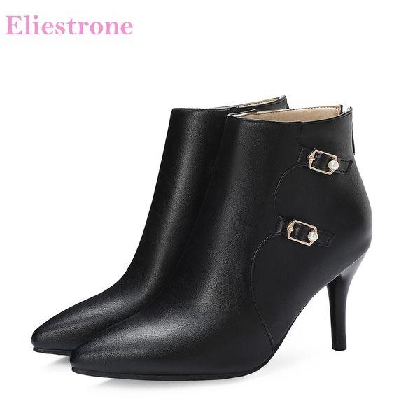 2019 Brand New Glamour Preto Marrom Mulheres Ankle Boots Sexy Alta Stiletto Heels Senhora Sapatos LS918 Plus Tamanho Grande Grande 10 30 43 48