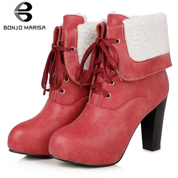 BONJOMARISA nuovo grande formato 33-43 finta pelle Calzari signore lace-up Aggiungi pelliccia Stivaletti donne 2019 pattini degli alti talloni della donna
