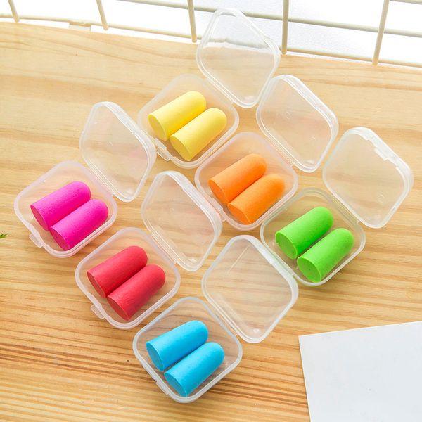 В штучной упаковке мягкая пена беруши мешок пакет конические путешествия сна шума предотвращения затычки для ушей шум уменьшить для путешествий спящего исследования 6 цветов DBC DH1178