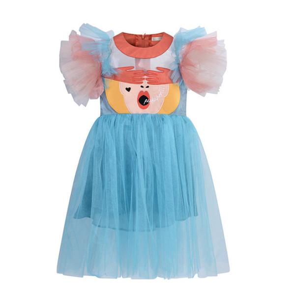 INS Mädchen schnüren sich Tüllballettröckchenkleid Kinderkarikatur gestickte Prinzessin übersteigt das Kind abgestufte falbala Fliegenhülsen-Parteikleidkinder hohle legging F5129