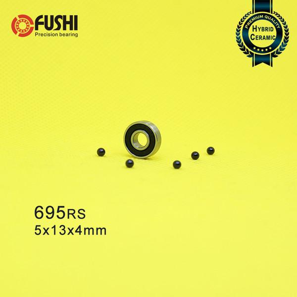Rolamentos 695 2 PC 5 * 13 * 4mm 440C Anel De Aço Inoxidável Si3N4 Esferas Cerâmicas Rolamento P5 Para Metal Fidget Spinner S695 RS 2RS S695RS
