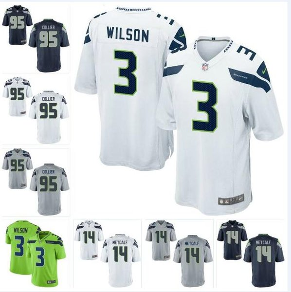 competitive price 9a346 d540b 2019 95 LJ Collier Seahawks Jersey DK Metcalf Ugo Amadi Russell Wilson Gary  Jennings Phil Haynes FAN Custom American Football Jerseys Wear Youth From  ...