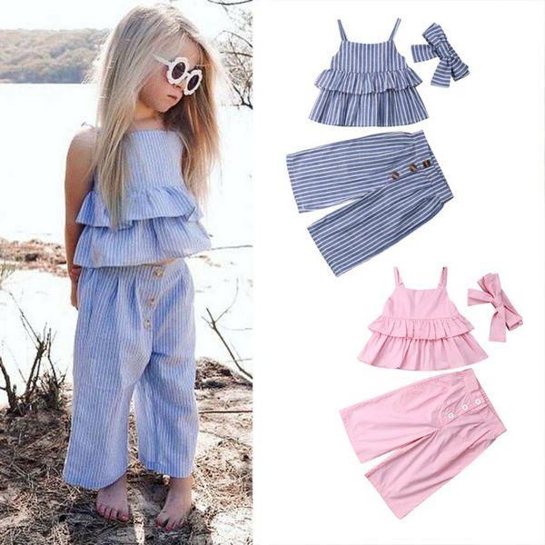 Summer Baby Girl Cute Casual sin mangas con estampado de rayas con correa Diseño camiseta Tops Pantalones Diadema Conjunto de trajes Condole Belt Cloth