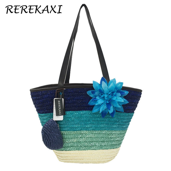 Rerekaxi Summer Knitted Straw Bag Wheat Pole Weaving Women's Handbags Flower Bohemia Shoulder Bags Lady's Beach Bag Large Tote Y19061204