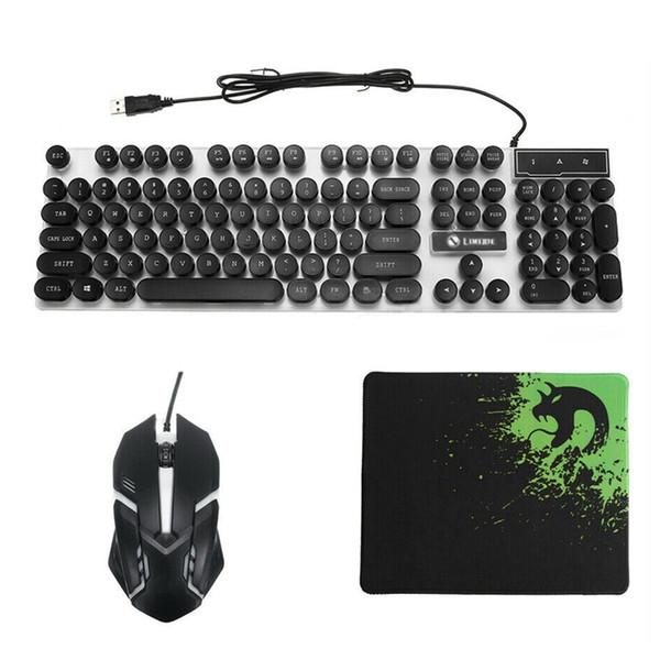Arco-íris com fio Led Voltar Mudo Teclado E Mouse Ergonômico Para Jogos + Mouse Pad Novo, preto