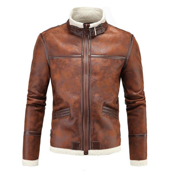 Marka Deri Ceket Erkek Mont Yüksek Kalite PU Giyim Erkekler İş Kış Faux Kürk Erkek Ceket Polar Resident Evil jaket