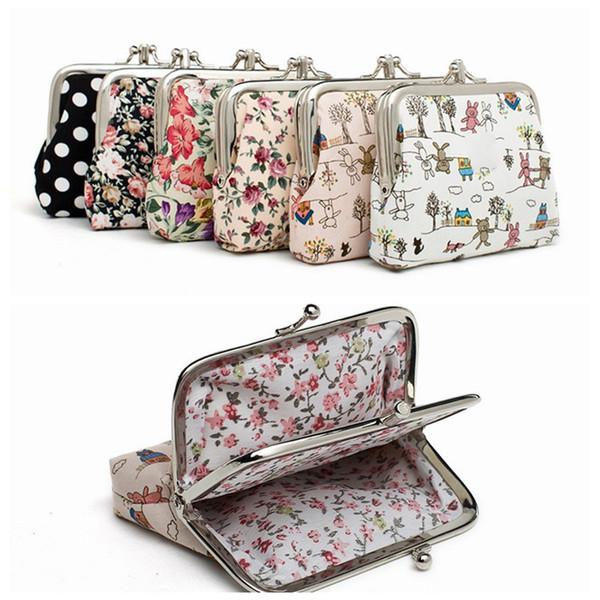 Venta al por mayor monedero de las mujeres de lona de almacenamiento floral bolsas de felpa kawaii pequeña hebilla billetera clave para los niños