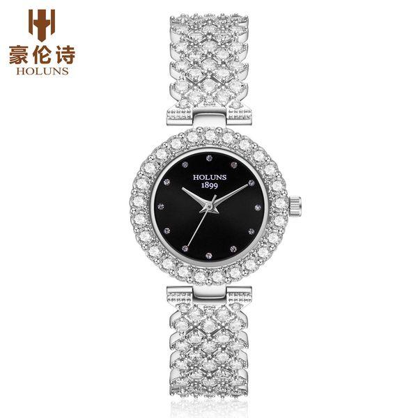 2019 HOLUNS marka lüks kadınlar elmas saatler Japonya kuvars 5 atm su geçirmez bayanlar İzle paslanmaz çelik moda reloj mujer BRW