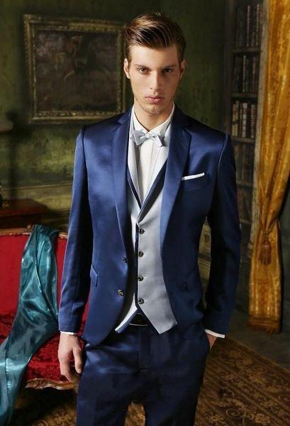 Fashion Blue Satin Groom Tuxedos Notch Lapel Groomsmen Mens Wedding Dress Handsome Man Jacket Blazer 3 Piece Suit(Jacket+Pants+Vest+Tie) 919