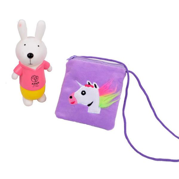 Unicorn Kids Coin Purse Cartoon Messenger Bag Children Zipper Pouch With Rope Cute Cosmetic Bag Infantil Snack Bag Furry Pocket sale A3114