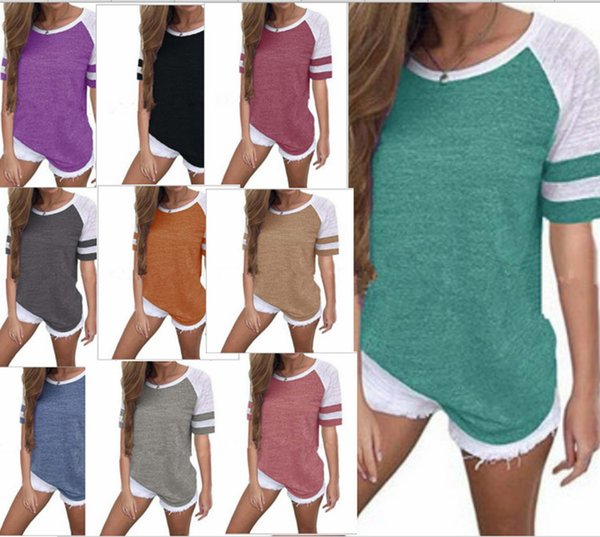 Fashion Women Casual Strip Color Match T-shirt Summer Short Sleeve Loose Striped T Shirt Round Neck Girls Tops Plus Size S-5xl B3123 2019