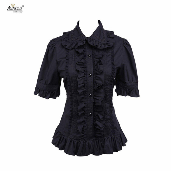 Ainclu Hot Selling Cemavin Womens XS To XXL Cotton Black Ruffle Lolita Blouse for Usually days Party Halloween
