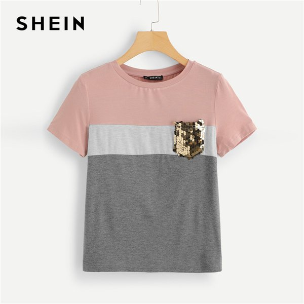 bd2a2b5f1d Shein Multicolor Color Block Cut And Sew Sequin Pocket T Shirt Women Short  Sleeve Casual Tee