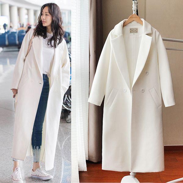 New Autumn Women Coat Harajuku Streetwear Women Clothes Korean Plus Size Velvet Jacket Wool Coat White Woolen Female