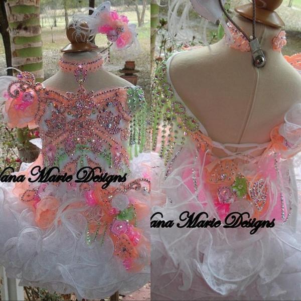 2019 Abiti da ballo estivi Ragazze da bambino Abiti da sfarzo glamorous Perline Cristalli Fiori Piuma Organza Flower Girl Dresses Vestito da Cupcake BO6998