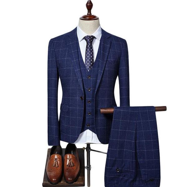 Amazing 2019 Alien Men Suit Slim Fit Mens Plaid Suits 3 Pieces Groom Wedding Suit High Quality Men's Suits Formal