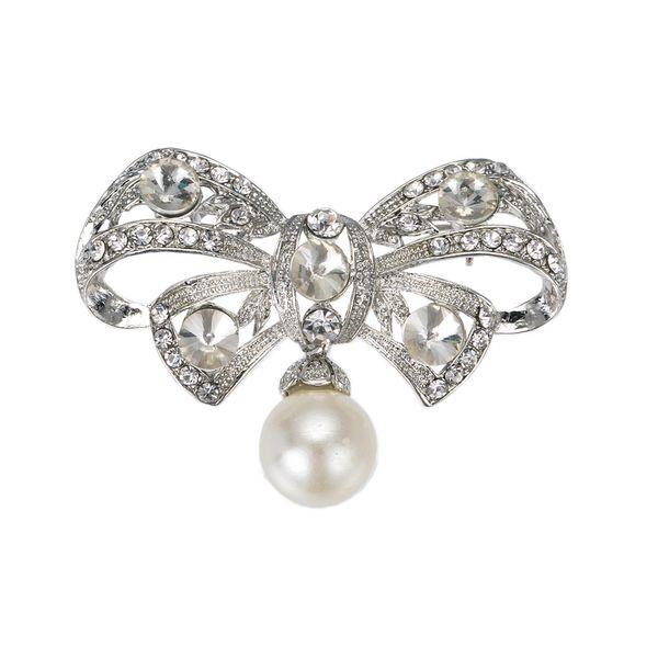 "Fashion Jewelry Brooches 2\"" Vintage Style Rhodium Silver Rhinestone Diamante Imitation Cream Pearl Bow Bridal Brooch Jewelry Accessory"