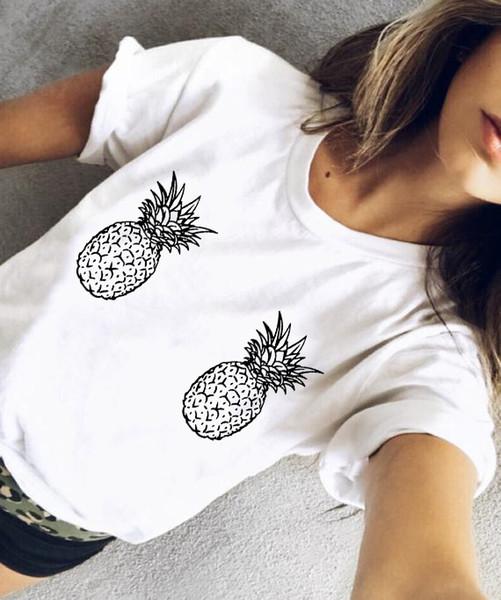Funny Women Pineapple Boobs Tee Cartoon Drawn Boobies Pineapple Breast Women Have No Need Boobs Casual Tops Tumblr Girls T Shirt