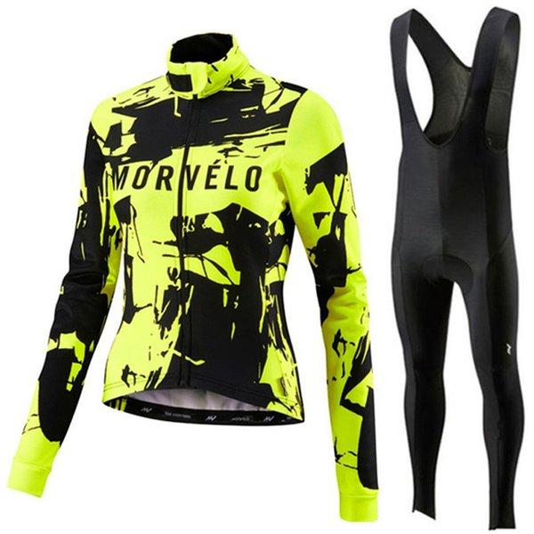 Womens Morvelo del equipo de ciclismo profesional bici Jersey de manga larga camisas pantalones del babero sistema de la ropa Ropa de Ciclismo de bicicletas de carreras de ropa deportiva al aire libre