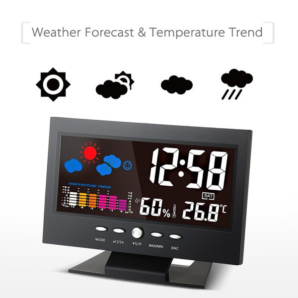 LCD Digital Temperature Humidity Meter Thermometer Hygrometer Calendar Alarm Clock Weather Forecast Station