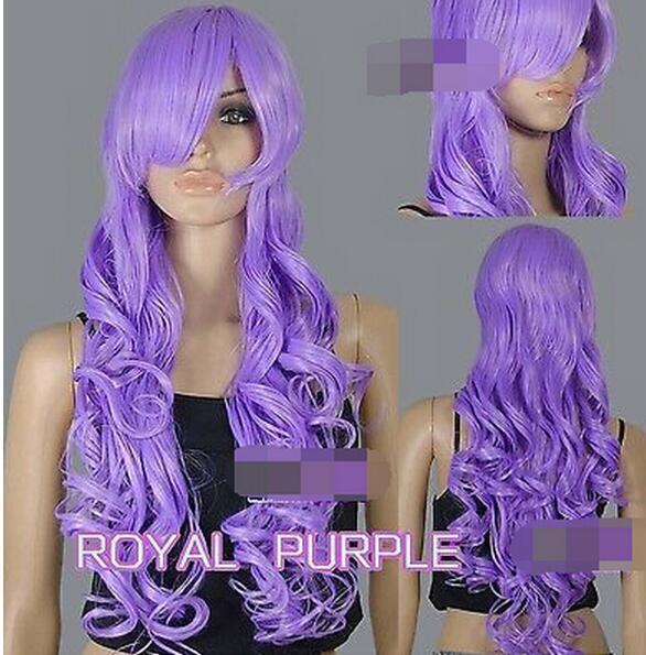 FREE SHIPPINNew ++ 80 cm Royal Roxo Calor Estiloso Curly Longo Cosplay Perucas para as mulheres perucas