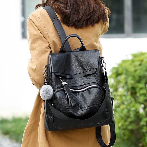 Frauen Anti-Diebstahl-Rucksack Tide Wildleder-Multifunktions-Umhängetasche Lässige Rucksack mit großer Kapazität Bagpack BookBag # 40