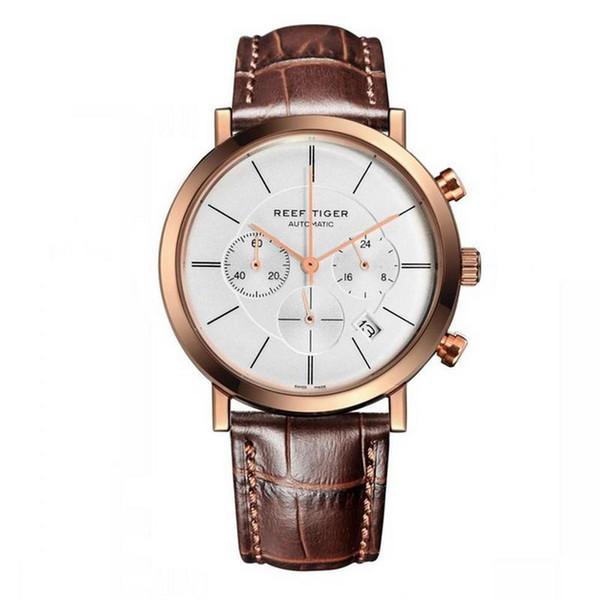 Luxusuhr Männer, Chronograph Armbanduhren Reef Tiger Herren Quarz wasserdichte Armbanduhr Mann Sport relogio masculino RGA162 Kleid