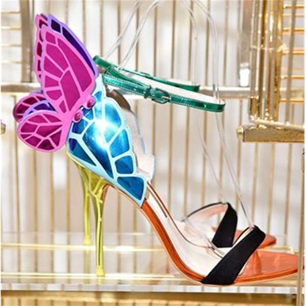 Seksi Renkli Kadın Ayakkabı Kelebek Kanatları Sandalet Ince Yüksek Topuklu Sandalial Ayak Bileği Kayışı Pompaları Parti Eğlence Ayakkabı Kadın Zapatos Mujer