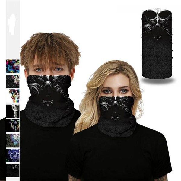 top popular Multifunctional Headband Bandanas Mask Neckerchief Magic Bandana Skull Digital Print Headscarf Protective Masks Outdoor Cycling Scarf 2021
