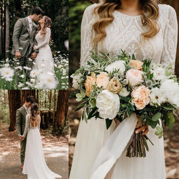 Forest Style Simple Beach Bohemian Wedding Dresses Backless Long Sleeve Country Boho Bridal Gowns 2020 Custom Made Wedding Dress BC1704