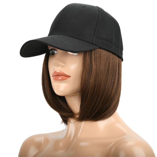 Mode Matte Hochtemperatur Gerade Perücken Cosplay Schwarz Hut Baseballmütze Mittleres Haar Perücken 23 cm Synthetische Perücke für Alle Fähigkeiten